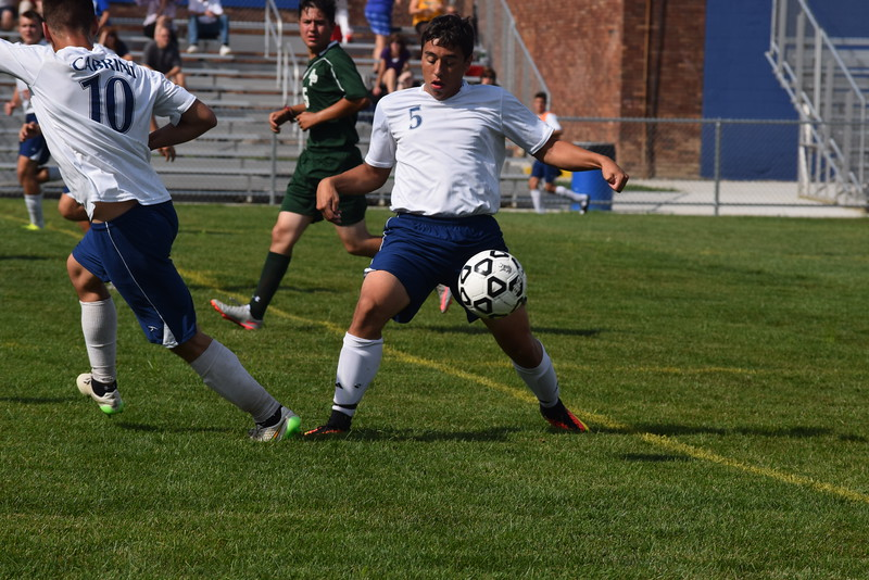 Cabrini's Mark Aguilar (5) scored two goals on Friday in his team's 3-0 victory over visiting Allen Park. (MIPrepZone Photo Gallery by Alex Muller)