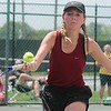 Riverview's Hannah Morin takes aim for the Pirates in doubles. Allen Park hosted the MHSAA Tennis Regional on Thursday, May 18, 2017. (MiPrep Zone photo gallery by Terry Jacoby)