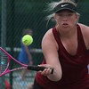 Riverview doubles player Emilee LeBlanc moves in for a shot. Allen Park hosted the MHSAA Tennis Regional on Thursday, May 18, 2017. (MiPrep Zone photo gallery by Terry Jacoby)