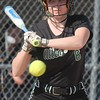 Gabby Genaw looks back for the call from the umpire during Allen Park's 10-0 defeated of host Trenton on Wednesday afternoon. (MiPrepZone photo gallery by Terry Jacoby)