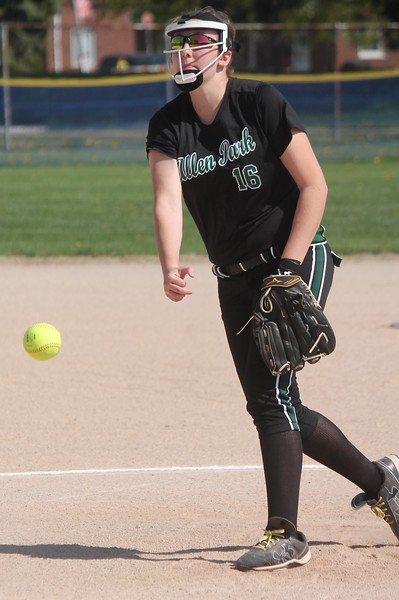 Sophomore Sydni Uhlenberg shut out the host Trenton Trojans on Wednesday afternoon. Allen Park defeated Trenton 10-0 in the Downriver League battle. (MiPrepZone photo gallery by Terry Jacoby)