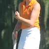 Dearborn High's Brenna Shelton celebrates a putt. Carlson hosted the Marauder Golf Invitational at Lake Erie Metropark on Tuesday, Aug. 23, 2016. MiPrepZone photo gallery by Terry Jacoby