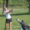 Trenton's Zoe Hornauer lets one fly. Carlson hosted the Marauder Golf Invitational at Lake Erie Metropark on Tuesday, Aug. 23, 2016. MiPrepZone photo gallery by Terry Jacoby