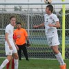 Riverview's Colin Howard with the header. Grosse Ile scored a 5-0 win over host Riverview on Oct. 12, 2016. (MiPrepZone photo gallery by Terry Jacoby)