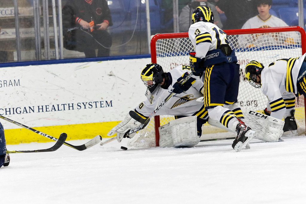. Trenton took on Hartland in the Division 2 state championship game on Saturday morning at USA Hockey Arena in Plymouth. The Trojans ultimately suffered a 4-2 defeat in what was the program\'s 21st appearance in the state finals. Photo by Tim Arrick - For The News-Herald