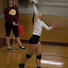 Riverview's Halee Dorn serves one up for the Pirates on her home court in Wednesday night's Huron League doubleheader against New Boston Huron. Riverview won the first match 3-0 and the second match 3-1.  (MIPrepZone photo gallery by Mimi Dorn)