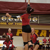 New Boston Huron's Jaclyn Gentis goes up for the kill on Wednesday evening at Riverview. The Chiefs lost both ends of a doubleheader against the Pirates,  3-0 and 3-1. (MIPrepZone photo gallery by Mimi Dorn)