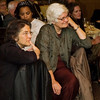 Phyllis Bennis and Mary Lee Sargent listen attentively to peace essay winner, Rachel Arnold