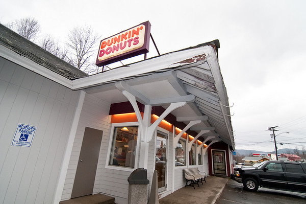 Dunkin' Donuts in an adaptive re-use of an old train station in Whitefield