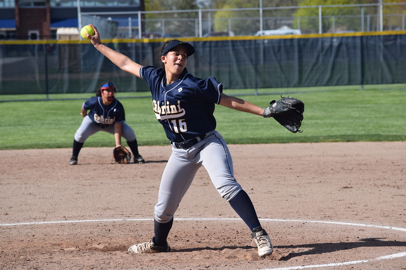 Allen Park Cabrini starter Montana Spears limited visiting Riverview Gabriel Richard to just one run in her team's 2-1 victory on Tuesday. The Pioneers knocked off the Monarchs 14-10 in the second half of the doubleheader. (MIPrepZone Photo Gallery by Alex Muller)