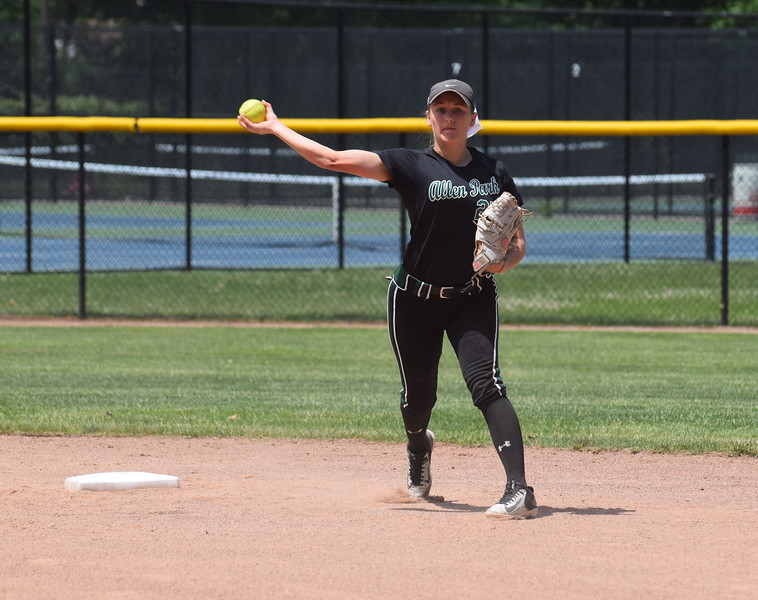 Allen Park's Carlie Magier gets ready to throw to first on Saturday during Division 1, Region 4 action at Dearborn Edsel Ford. The Jaguars fell to Monroe in the finals by a score of 4-3 in 11 innings. Earlier in the day, they beat Ypsilanti Lincoln 5-1 in the semifinals. (MIPrepZone Photo Gallery by Frank Wladyslawski)