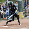 Allen Park's Gabby Genaw swings at a pitch during Wednesday afternoon's battle with visiting Woodhaven. A big day from Genaw helped guide the Jaguars to a 12-3 victory. (MIPrepZone Photo Gallery by Frank Wladyslawski)