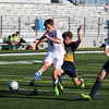 Woodhaven senior Brendan Byrns scores a goal in the Warriors 6-0 win over visiting Wyandotte Roosevelt on Monday. (MIPrepZone photo gallery by Robert Sherman)