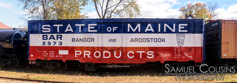 A State of Maine Products boxcar.