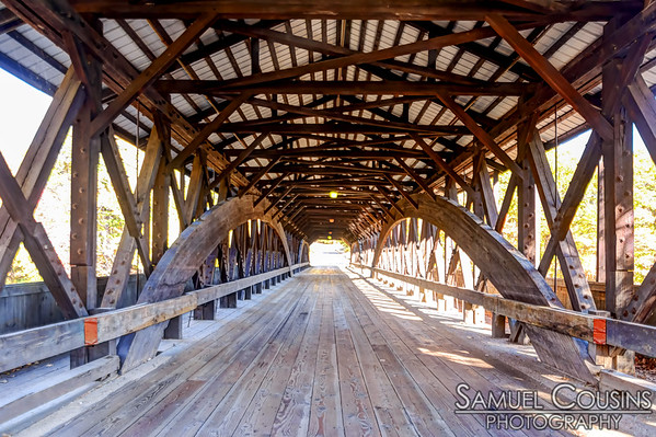 On the covered bridge.