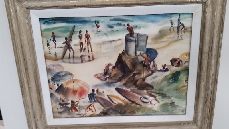 Another fun and valuable art piece, donated to the school many years ago.  The old longboards could pose as paddle boards today!