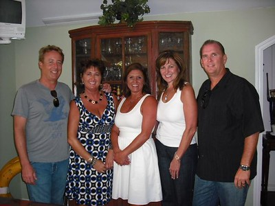 At Leslie Feducia's pre-reunion party- Ron Schwalbe, Darin Moody, Leslie, Ellen Mitchell, and Jeff Piaskowski