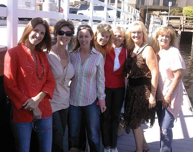 The Balboa Babes waiting for their boat: Julie Anderson, Leslie Koehn, Allison Udall, Cindy Howard, Kitty Stamper, Jeannine Mansur, and Brenda Bailey