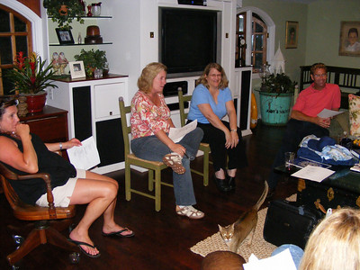 The planning committee at one of the monthly meetings.  Most were held at Leslie Feducia Louvier's home