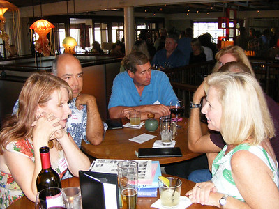The official NHHS 30-year Reunion festivities begin as classmates begin arriving at the Cannery for cocktails and conversation. First to show are Debbie Subcasky Maxwell, Robert Maxwell, Andy McVay, Lisa Beckley, Franci Vittrup, Bruce Wyman, and Bill Beamish