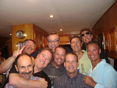 Bad Boys cruising the harbor on Friday night. Back Row: Don Barker, Jeff Bitetti, Dave Clark, Norm (Debbie Beatty`s date) Front Row: Vartan Piroumian, Craig Lyons, Harry Massingil, Brad Smith and Paul Helfrich