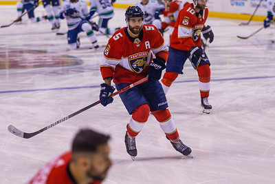 Panthers defenseman and alternate captain Aaron Ekblad  (#5) skates during the pregame warmup at the BB&T Center on Thursday, January 9, 2020, where the Panthers hosted the Vancouver Canucks. The Panthers would go on to beat the Canucks 5-2. [JOSEPH FORZANO/palmbeachpost.com]