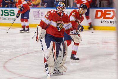 Panthers goalie Sergei Bobrovski (#72) skates during the pregame warmup at the BB&T Center on Thursday, January 9, 2020, where the Panthers hosted the Vancouver Canucks. Bobrovsky stopped 30 of 32 shots in the Panthers 5-2 win over the Canucks. [JOSEPH FORZANO/palmbeachpost.com]