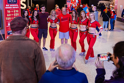 A fan poses for a photo with the Panthers cheerleaders at the BB&T Center in Sunrise, where the Florida Panthers hosted the Vancouver Canucks on Thursday, January 9, 2020. The Panthers would go on to beat the Canucks 5-2. [JOSEPH FORZANO/palmbeachpost.com]