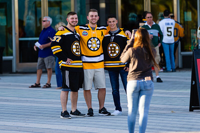 Bruins fans pose for a photo on the Jet Blue Tarmac at the BB&T Center in Sunrise, FL on Thursday, March 5, 2020 where the Florida Panthers hosted the Boston Bruins. The Bruins went on to beat the Panthers 2-1 in overtime. [JOSEPH FORZANO/palmbeachpost.com]