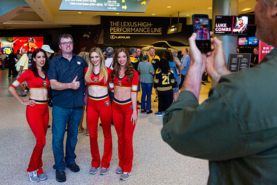 Panthers' cheerleaders pose with a fan at the BB&T Center in Sunrise, FL on Thursday, March 5, 2020 where the Florida Panthers hosted the Boston Bruins.The Bruins went on to beat the Panthers 2-1 in overtime. [JOSEPH FORZANO/palmbeachpost.com]