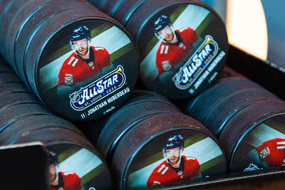 Commemorative NHL All Star hockey pucks featuring Panther All Star Jonathan Huberdeau on sale at Pantherland in the BB&T Center in Sunrise, FL on Thursday, March 5, 2020 where the Florida Panthers hosted the Boston Bruins. The Bruins went on to beat the Panthers 2-1 in overtime. [JOSEPH FORZANO/palmbeachpost.com]