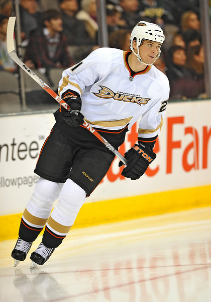 Dec 31st, 2009:  <br /> Anaheim Ducks defenseman Sheldon Brookbank #21<br /> in a game between the Anaheim Ducks and the Dallas Stars at the AAC in Dallas, Texas.<br /> Stars win 5-3
