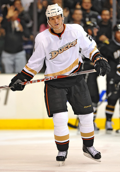 Dec 31st, 2009:  <br /> Anaheim Ducks defenseman Sheldon Brookbank #21 upset for allowing a goal in a game between the Anaheim Ducks and the Dallas Stars at the AAC in Dallas, Texas.<br /> Stars win 5-3