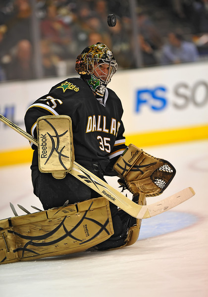 Dec 31st, 2009:  <br /> Dallas Stars goalie Marty Turco #35 looses the puck for a moment in a game between the Anaheim Ducks and the Dallas Stars at the AAC in Dallas, Texas.<br /> Stars win 5-3