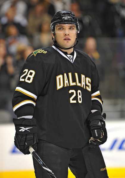 Dec 31st, 2009:  <br /> Dallas Stars defenseman Mark Fistric #28 in a game between the Anaheim Ducks and the Dallas Stars at the AAC in Dallas, Texas.<br /> Stars win 5-3