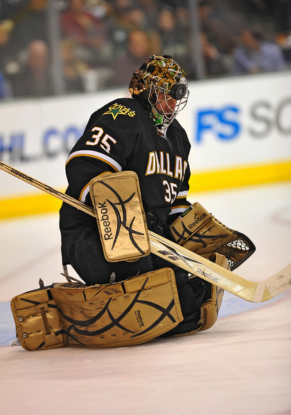 Dec 31st, 2009:  <br /> Dallas Stars goalie Marty Turco #35 gets hit in the head with a puck in a game between the Anaheim Ducks and the Dallas Stars at the AAC in Dallas, Texas.<br /> Stars win 5-3