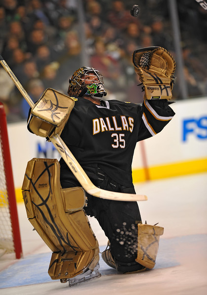 Dec 31st, 2009:  <br /> Dallas Stars goalie Marty Turco #35 sees and gets the loose puck in a game between the Anaheim Ducks and the Dallas Stars at the AAC in Dallas, Texas.<br /> Stars win 5-3