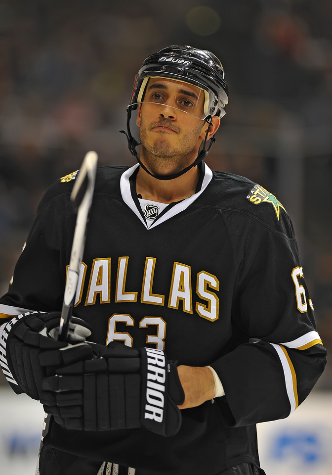 Dec 31st, 2009:  <br /> Dallas Stars center Mike Ribeiro #63 gets an assist<br /> in a game between the Anaheim Ducks and the Dallas Stars at the AAC in Dallas, Texas.<br /> Stars win 5-3