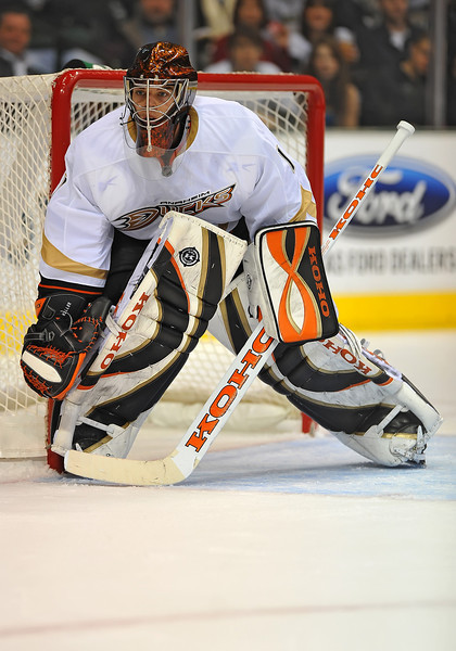 Dec 31st, 2009:  <br /> Anaheim Ducks goalie Jonas Hiller #1<br /> in a game between the Anaheim Ducks and the Dallas Stars at the AAC in Dallas, Texas.<br /> Stars win 5-3