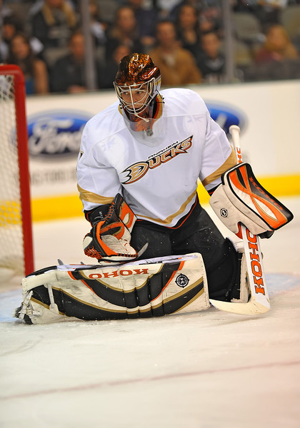 Dec 31st, 2009:  <br /> Anaheim Ducks goalie Jonas Hiller #1 denies the puck<br /> in a game between the Anaheim Ducks and the Dallas Stars at the AAC in Dallas, Texas.<br /> Stars win 5-3