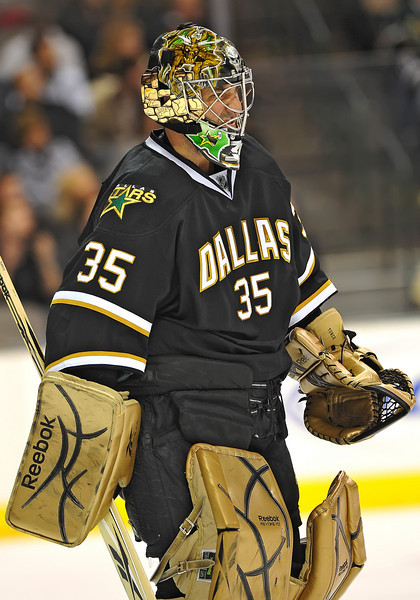 Dec 31st, 2009:  <br /> Dallas Stars goalie Marty Turco #35 frustrated for allowing a slow puck into the net in a game between the Anaheim Ducks and the Dallas Stars at the AAC in Dallas, Texas.<br /> Stars win 5-3