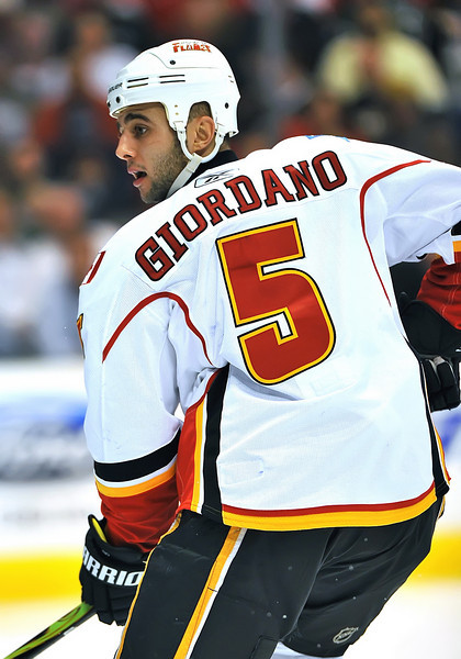 November 4th, 2009:  <br /> Calgary Flames defenseman Mark Giordano (5)<br /> in action during a game between the Calgary Flames and the Dallas Stars at the AAC in Dallas, Texas.  <br /> Calgary beats Dallas in OT 3-2