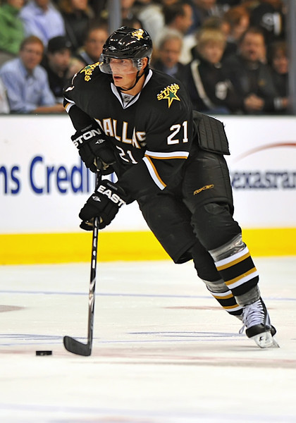 November 4th, 2009:  <br /> Dallas Stars left wing Loui Eriksson (21) in action during a game between the Calgary Flames and the Dallas Stars at the AAC in Dallas, Texas.  <br /> Calgary beats Dallas in OT 3-2