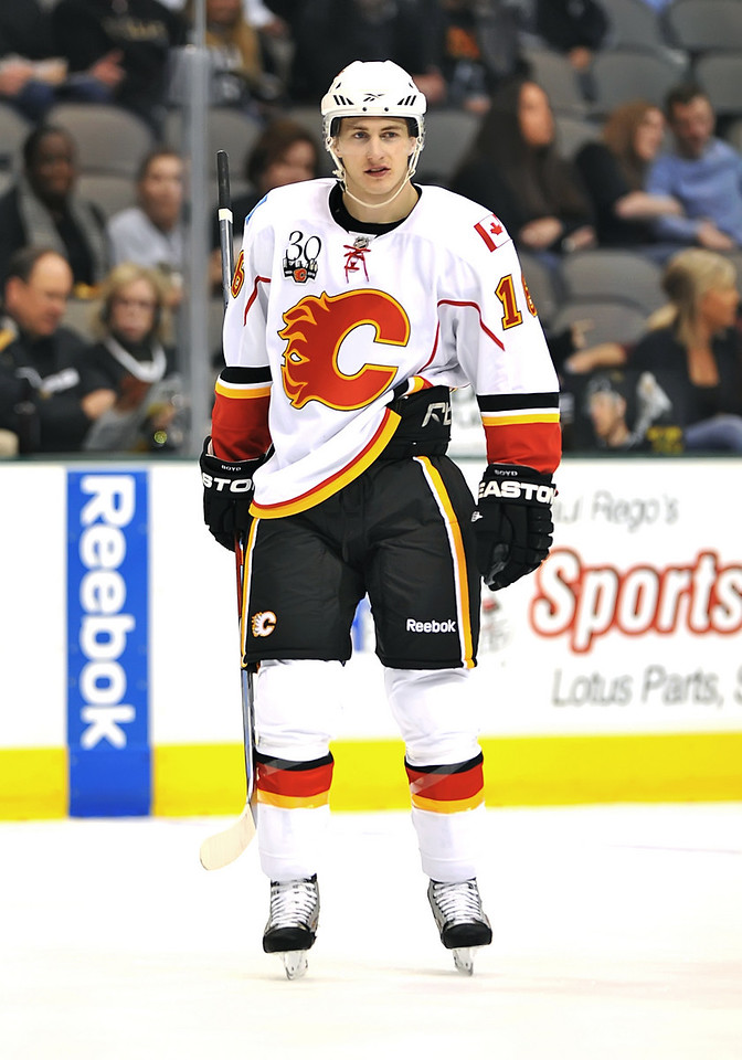 November 4th, 2009:  <br /> Calgary Flames center Dustin Boyd (16) in action during a game between the Calgary Flames and the Dallas Stars at the AAC in Dallas, Texas.  <br /> Calgary beats Dallas in OT 3-2