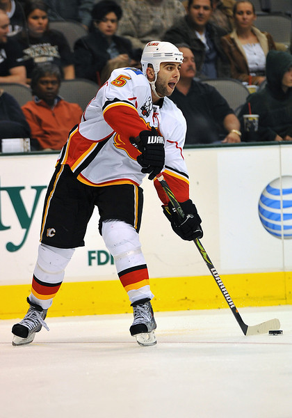 November 4th, 2009:  <br /> Calgary Flames defenseman Mark Giordano (5) in action during a game between the Calgary Flames and the Dallas Stars at the AAC in Dallas, Texas.  <br /> Calgary beats Dallas in OT 3-2