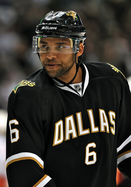November 4th, 2009:  <br /> Dallas Stars defenseman Trevor Daley (6) in action during a game between the Calgary Flames and the Dallas Stars at the AAC in Dallas, Texas.  <br /> Calgary beats Dallas in OT 3-2
