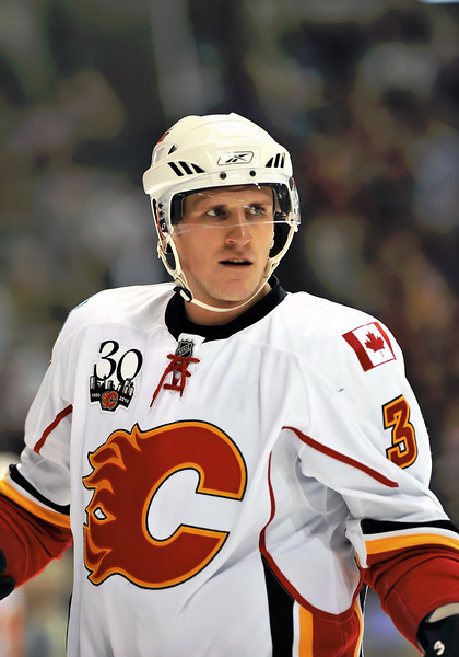 November 4th, 2009:  <br /> Calgary Flames defenseman Dion Phaneuf (3) in action during a game between the Calgary Flames and the Dallas Stars at the AAC in Dallas, Texas.  <br /> Calgary beats Dallas in OT 3-2