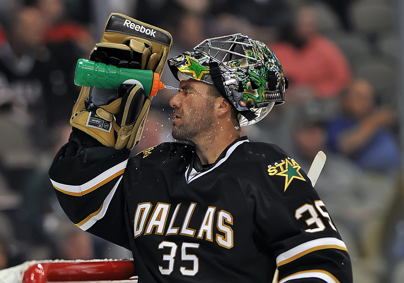 November 4th, 2009:  <br /> Dallas Stars goalie Marty Turco (35) in action during a game between the Calgary Flames and the Dallas Stars at the AAC in Dallas, Texas.  <br /> Calgary beats Dallas in OT 3-2