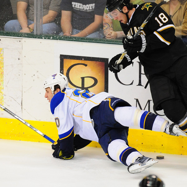 April 4th, 2009: _____________ in action in an NHL game between the St. Louis Blues and the Dallas Stars at the American Airlines Center in Dallas, TX