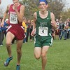Southgate's Garrett Brown (11th, 16:53.40) and Allen Park's Drew Johnson (12th, 16:53.70) cross the finish line into the state finals. Lake Erie Metropark hosted the annual high school boys' cross country Regional on Saturday, Oct. 29, 2016. (MiPrepZone photo gallery by Terry Jacoby)